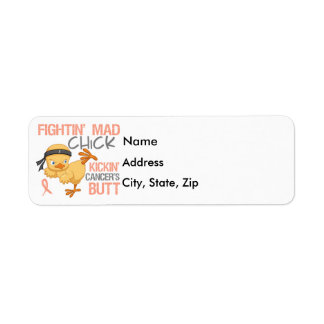 Fightin' Mad Chick Uterine Cancer Return Address Label
