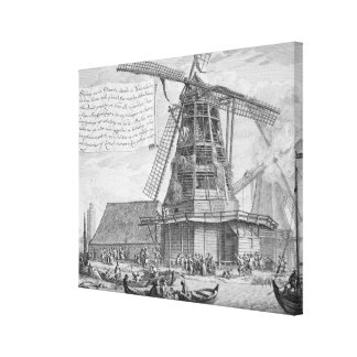 Fighting a fire in a windmill near Worden, from a Canvas Print