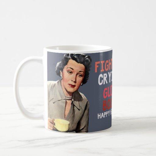 fighting, crying, guilt, booze. happy holidays mug