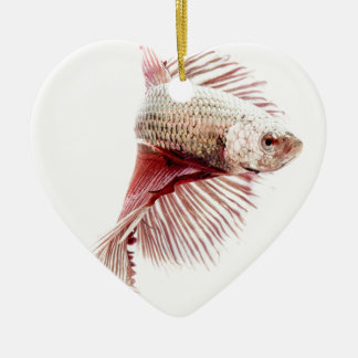 Fighting Fish Ceramic Heart Decoration