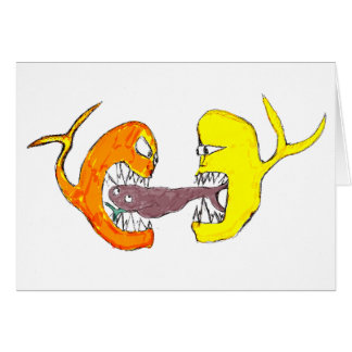 fighting fish greeting card
