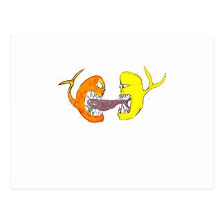 fighting fish postcard