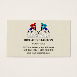 Fighting hockey players business card