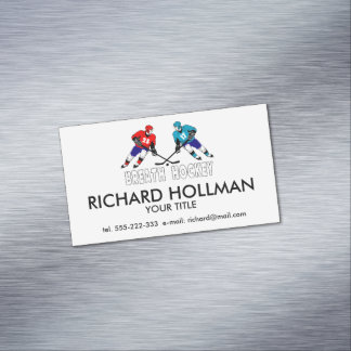 Fighting hockey players Magnetic business card