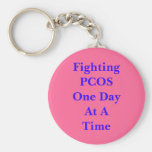 Fighting PCOS One Day At A Time Basic Round Button Key Ring