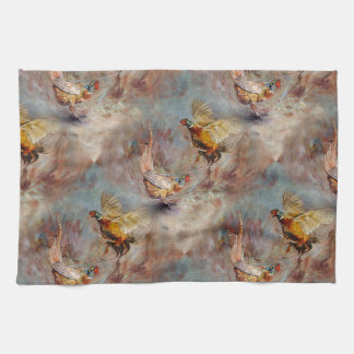 fighting pheasants art tea towel