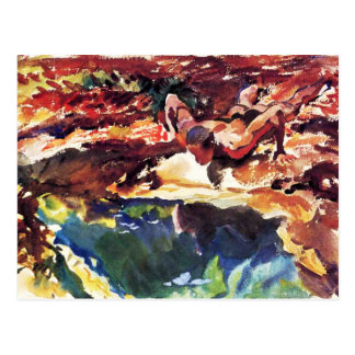 Figure and Pool by Sargent Post Card