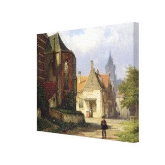 Figure before a Redbrick Church in a Dutch Town (o Canvas Print