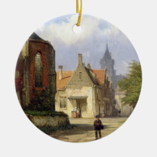 Figure before a Redbrick Church in a Dutch Town (o Christmas Ornament