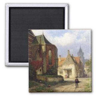 Figure before a Redbrick Church in a Dutch Town (o Magnet
