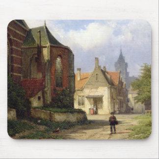 Figure before a Redbrick Church in a Dutch Town (o Mouse Mat