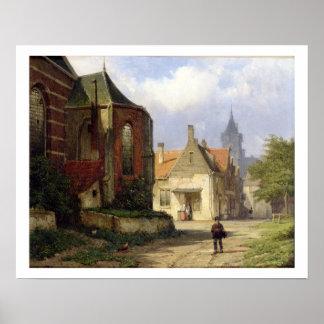 Figure before a Redbrick Church in a Dutch Town (o Poster