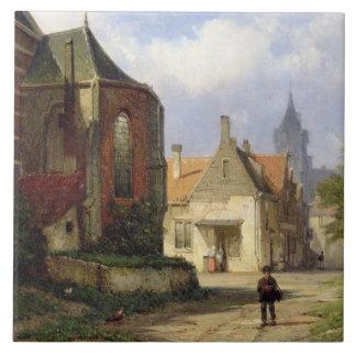 Figure before a Redbrick Church in a Dutch Town (o Tile