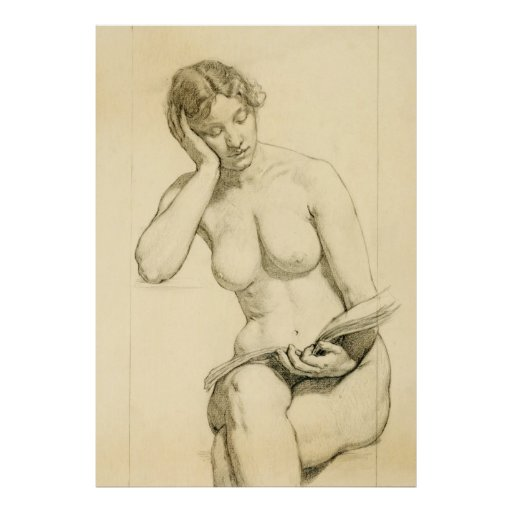 Figure drawing - woman reading poster