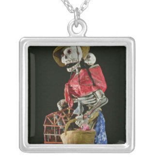 Figure for The Day of the Dead Silver Plated Necklace