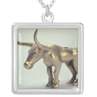 Figure of a bull silver plated necklace