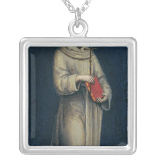 Figure of a Franciscan Monk Silver Plated Necklace