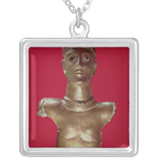 Figure of a god wearing a torque silver plated necklace