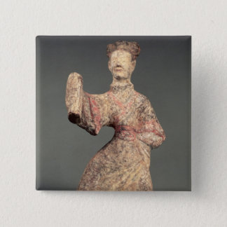 Figure of a male dancer, tomb artefact 15 cm square badge