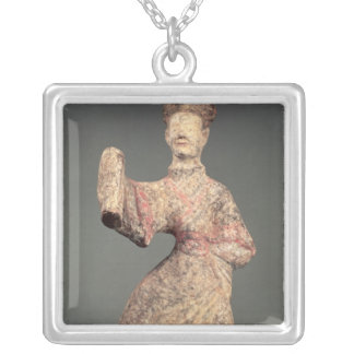 Figure of a male dancer, tomb artefact silver plated necklace