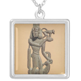 Figure of a man holding a monkey silver plated necklace