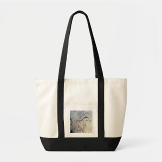 Figure of a pregnant mare with parallel line marki tote bag
