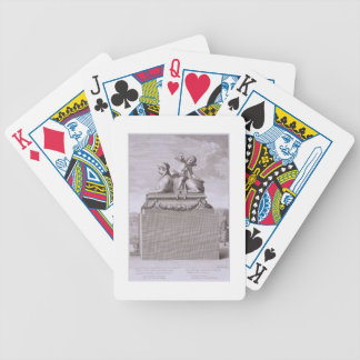 Figure of a sphinx in white marble, carrying a bro bicycle playing cards