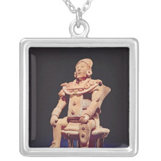 Figure of a warrior in full regalia silver plated necklace
