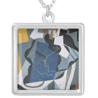 Figure of a Woman, 1917 Silver Plated Necklace