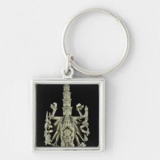 Figure of the Hindu Goddess Kali Silver-Colored Square Key Ring