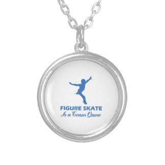 figure skate design silver plated necklace