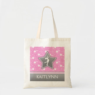 Figure Skater Among the Stars Pink with YOUR NAME Budget Tote Bag