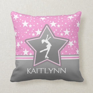 Figure Skater Among the Stars Pink with YOUR NAME Cushion