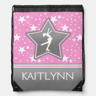 Figure Skater Among the Stars Pink with YOUR NAME Drawstring Backpacks