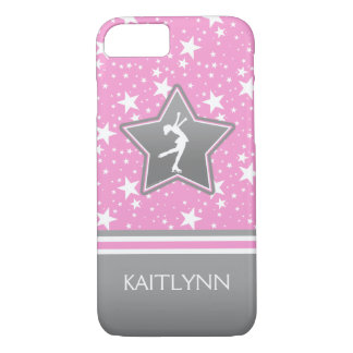 Figure Skater Among the Stars Pink with YOUR NAME iPhone 7 Case