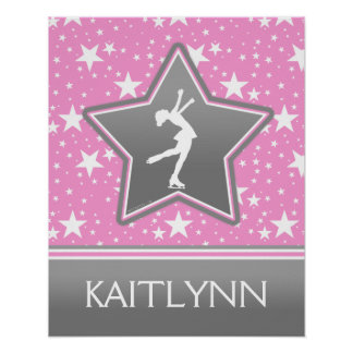 Figure Skater Among the Stars Pink with YOUR NAME Poster