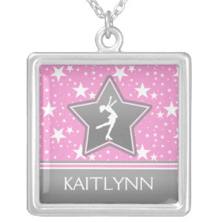 Figure Skater Among the Stars Pink with YOUR NAME Square Pendant Necklace