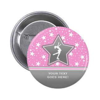 Figure Skater Among the Stars Pink with YOUR Text 6 Cm Round Badge