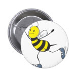 Figure Skater Bee Pinback Buttons