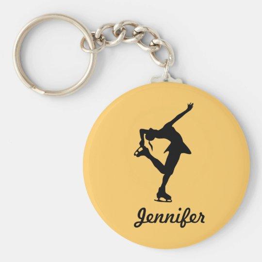Figure Skater Girl & Name Key Chain (Peach)