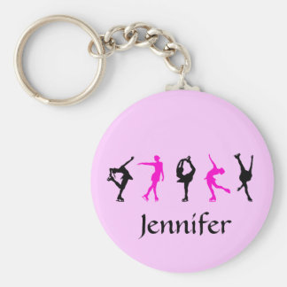 Figure Skater Girls & Name Key Chain (pale pink)