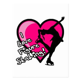 Figure Skater, Hot Pink & Black Postcard