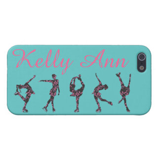 FIGURE SKATER PHONE CASE, Teal, Pink, Floral, Name iPhone 5/5S Cover