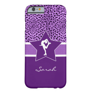 Figure Skater w/ Purple Cheetah Print and Monogram Barely There iPhone 6 Case