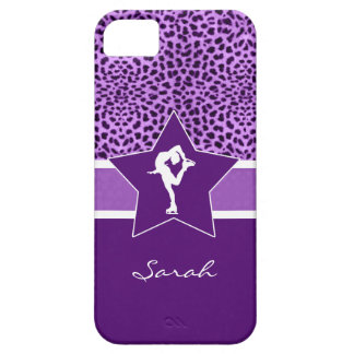Figure Skater w/ Purple Cheetah Print and Monogram iPhone 5 Case