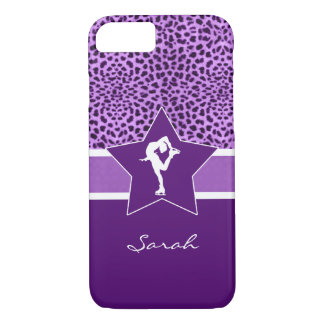 Figure Skater w/ Purple Cheetah Print and Monogram iPhone 7 Case