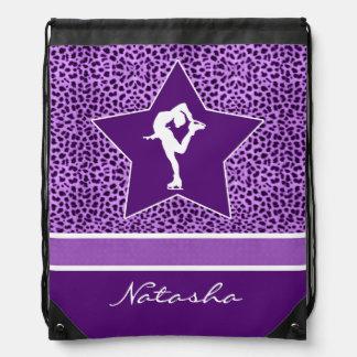 Figure Skater w/ Purple Cheetah Print and Monogram Rucksacks