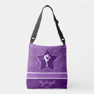 Figure Skater w/ Purple Cheetah Print and Monogram Tote Bag
