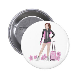 Figure Skater With Zuka Bag 6 Cm Round Badge