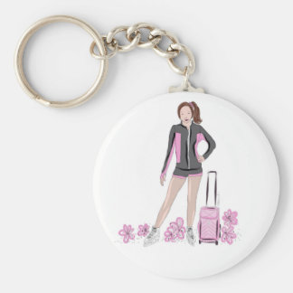 Figure Skater With Zuka Bag Basic Round Button Key Ring